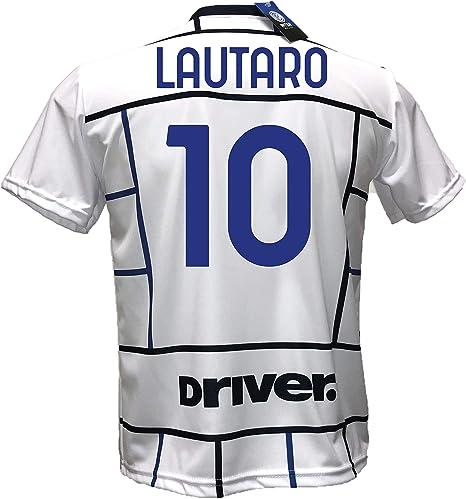 DND DI DANDOLFO CIRO Seconda Maglia Bianca Inter Away Calcio Lukaku 9 Replica Autorizzata 2020-2021 Taglie da Bambino e Adulto