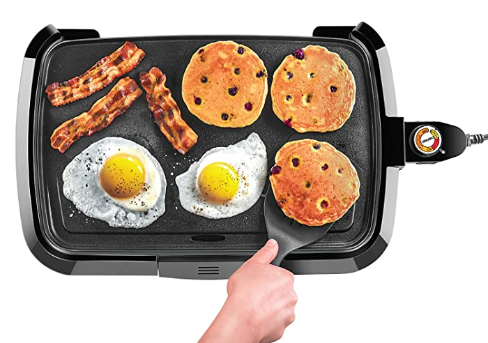 Chefman Electric Griddle, Fully Immersible and Dishwasher Safe Features, Adjustable Temperature Control Allows for Versatile Cooking and Removable Slide-out Drip Tray for Easy Cleaning- RJ23-SM