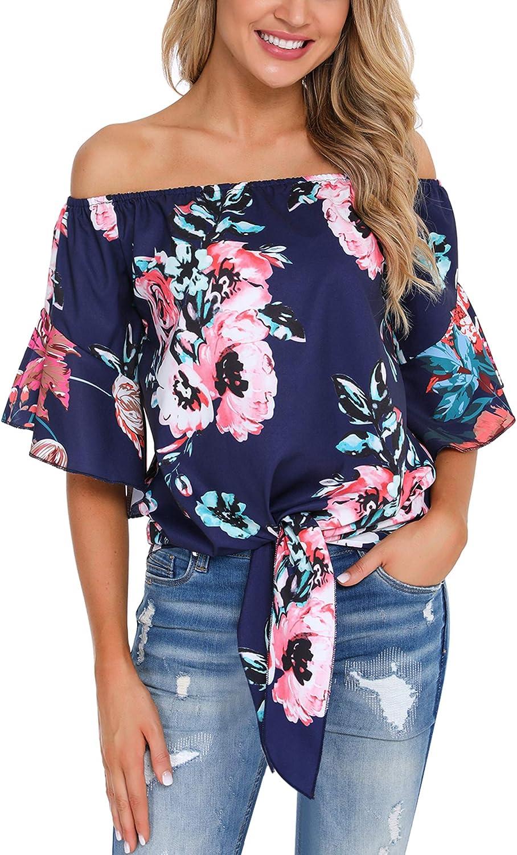 Irevial Camiseta Mujer Sexy, Top de Gasa con Hombros Descubiertos y Cuello de Manga Acampanada, Blusas Mujer Verano de Estampado de Flores