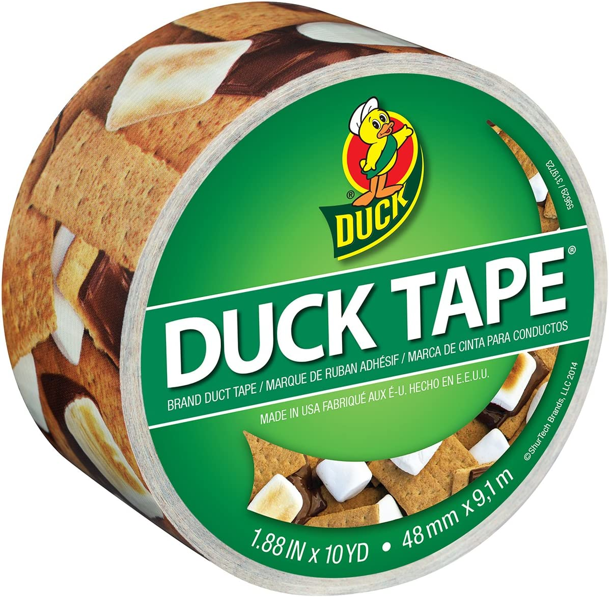 """Duck Brand 283789 Color Printed Duct Tape, S'mores Please , 1.88"""" x 10 Yards, Single Roll"""