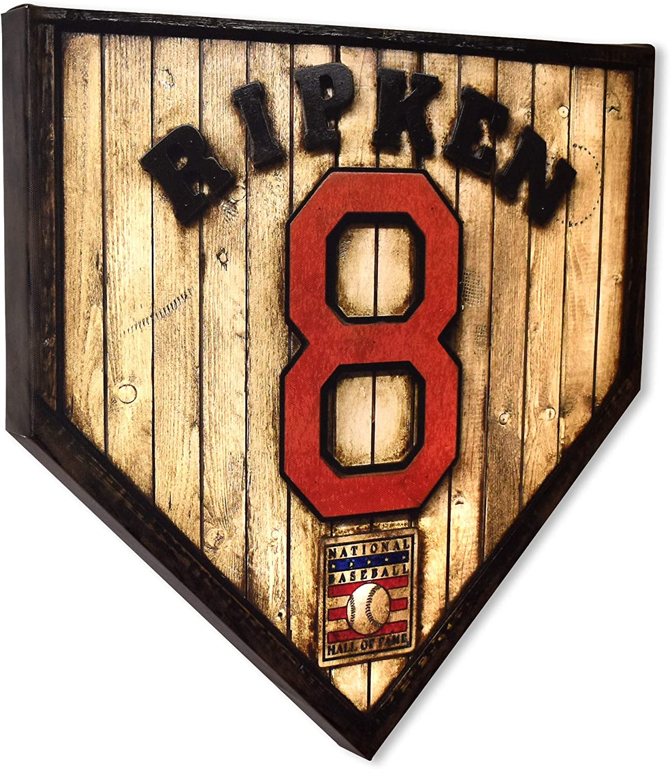"""COLLECTIBLE CANVAS Cal Ripken Jr. Home Plates, Sports, Wall Art for Bedroom, Nursery, and Other Parts of The House Or Dorm, Wall Decorations with Baseball Or Sports Theme 17"""" x 17"""" x 1.5"""""""