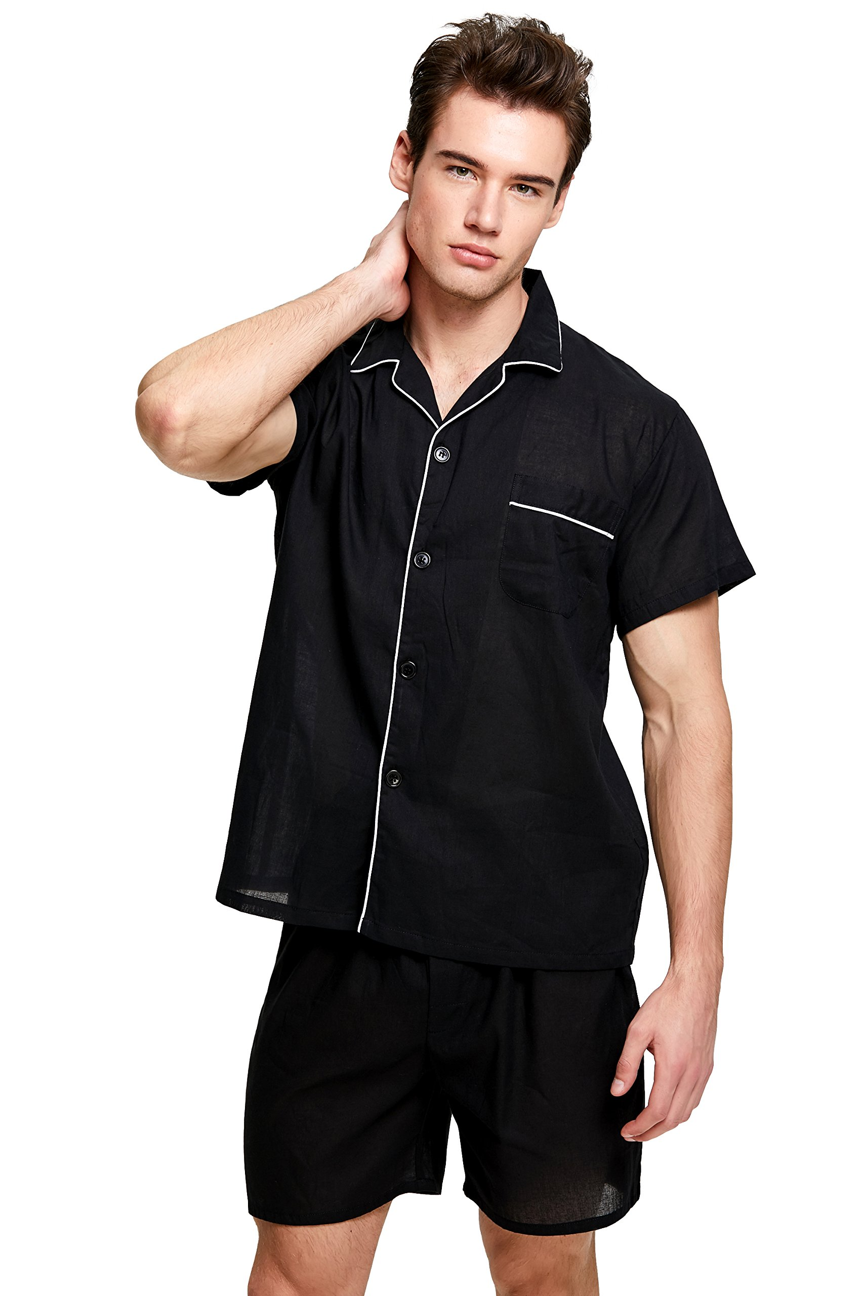 Men's Cotton Pajama Set, Short Sleeve Woven Sleepwear with Shorts, Button Down Nightwear (Black with White Piping, X-Large)