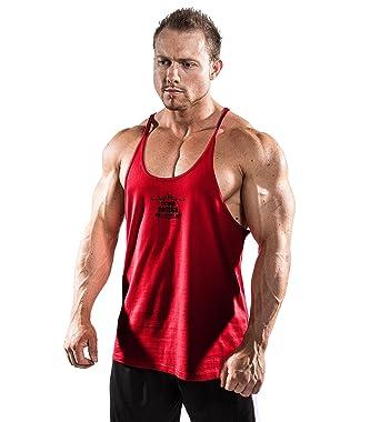 d4e7927ea6612 Amazon.com  Iron Tanks Marauder Stringer Singlet Venom Red - Bodybuilding  Fitness Mens Workout Shirt Tank Top Cotton  Clothing