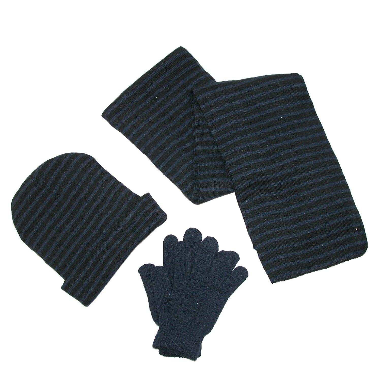 CTM Men's Knit Striped Hat Gloves Scarf Winter Set Navy with Black GM-KL3PCSTRIPE-NAV