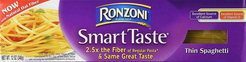 Ronzoni Smart Taste Pasta 12oz Box (Pack of 6) Choose Shape Below (Thin Spaghetti)