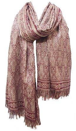 e2c5575dfd4 Chama Silk & Merino Wool Blend Shawl Scarf Stole Wrap Burgundy Red ...