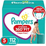 Pampers Diapers Size 5 - Cruisers 360˚ Fit Disposable Baby Diapers with Stretchy Waistband, 112 Count ONE Month Supply