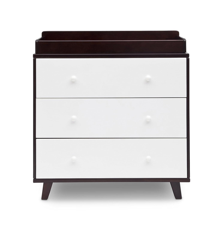 Amazon.com : Delta Children Ava 3 Drawer Dresser Changing Top, Black  Espresso/White : Baby