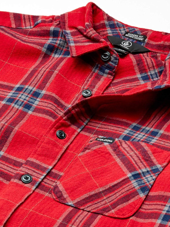 Volcom Men's Caden Plaid L/S Button Down Shirt Red (Engine Red)