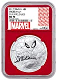 2017 TV Tuvalu Spider-Man 1 oz Silver Marvel Series Coin Red Core Holder Exclusive Marvel Label $1 MS70 ER NGC