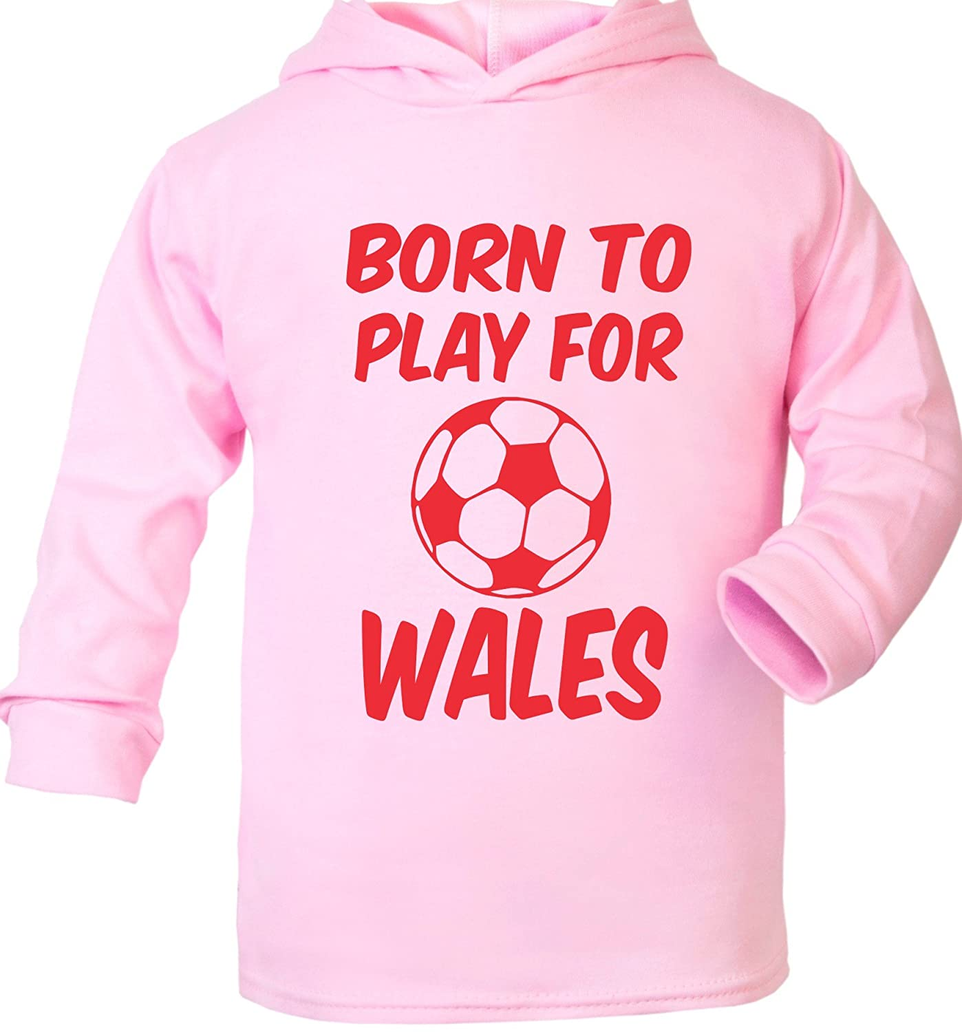 Print4u Born To Play For Wales Football Supersoft Baby Hoodie