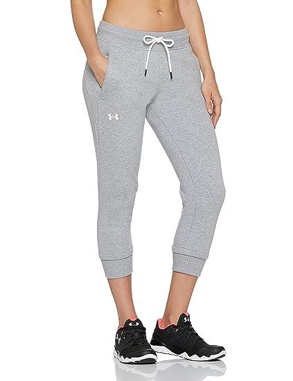 Under Armour 1320610 UA Slim Leg Crop - Pantalón de felpa para mujer, Gris (