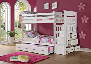 Amazon Com Acme Furniture 37370 Allentown Twin Over Twin Bunk Bed