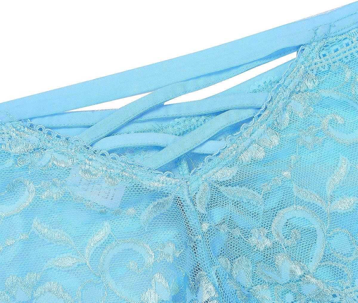 iEFiEL Mens Lace Sissy Pouch Briefs Criss-Cross Back Lingerie Crossdress Panties Underwear