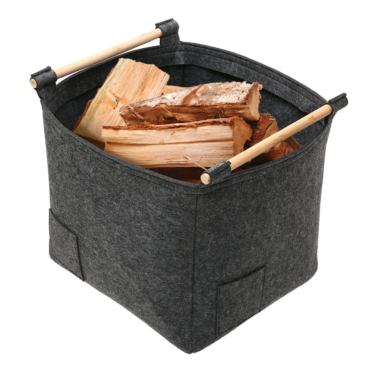 Firewood Basket, Essort Felt Storage Basket, Firewood Bag with Wood Holder, Multi-function Foldable Portable Basket Containers for Kids Toy Clothing Laundry