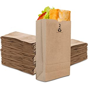 Stock Your Home 2 Lb Kraft Brown Paper Bags (250 Count) - Small Kraft Brown Paper Bags for Packing Lunch - Blank Kraft Brown Paper Bags for Arts & Crafts Projects