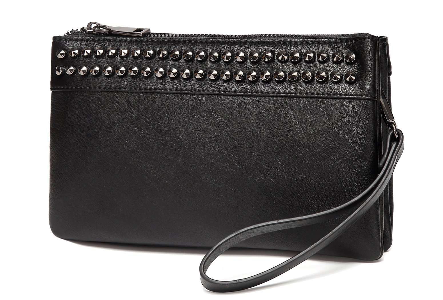 Wristlet Clutch Purses,VASCHY SAC Large Studs Soft Faux Leather Crossbody Evening Clutch Wallet for Women Black by VASCHY