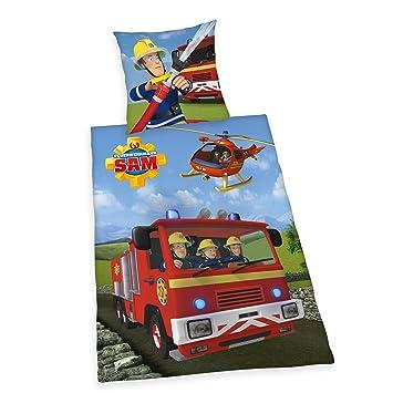 Herding Parure de lit Sam Le Pompier, Coton, Multicolore, 135 x 200 ... 4d78bcd0bda7