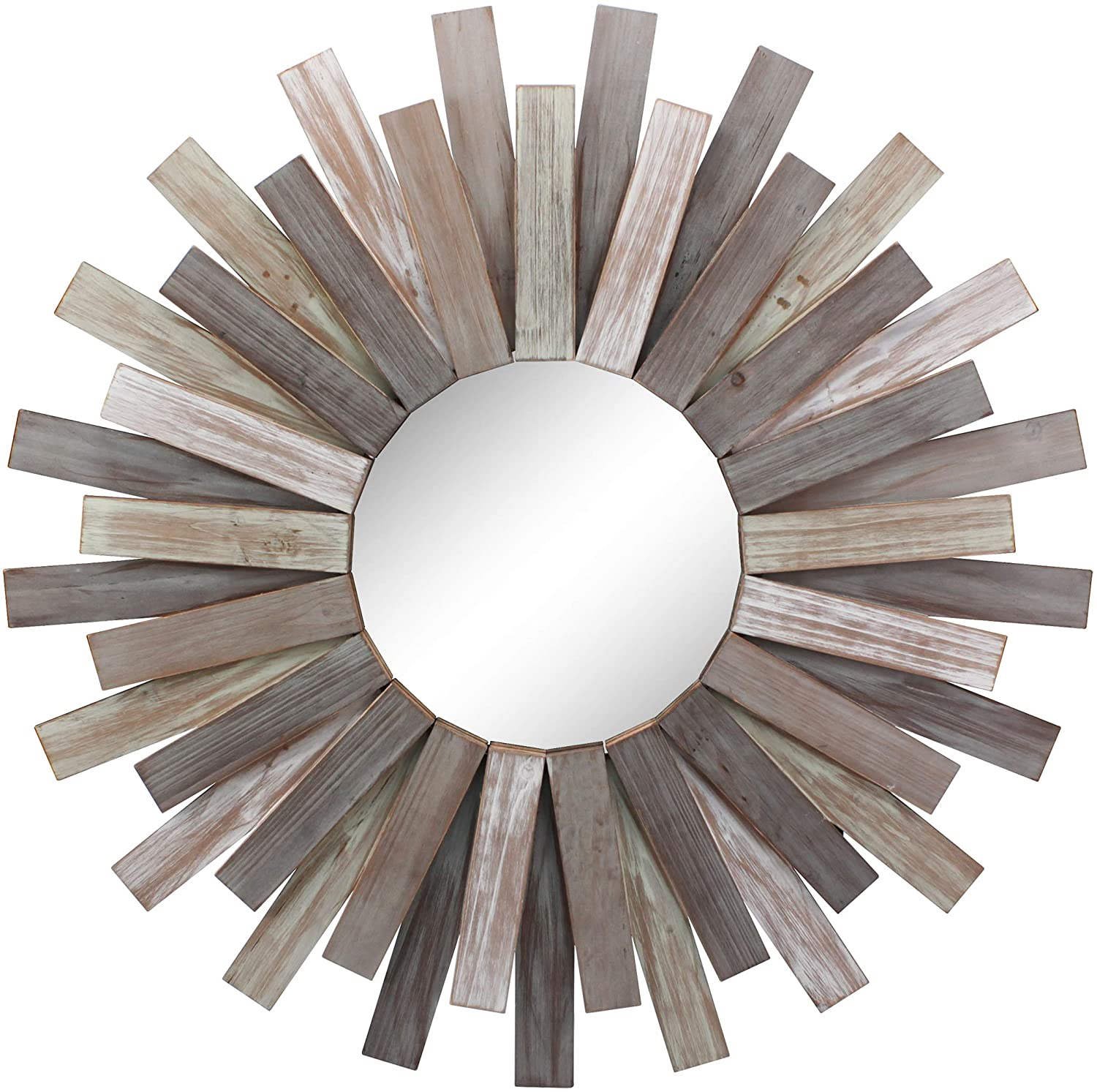 Stonebriar Large Round 32 Wooden Sunburst Hanging Wall Mirror With Attached Hanging Bracket Decorative Rustic Decor For The Living Room Bathroom Bedroom And Entryway Home Kitchen
