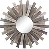 """Stonebriar Large Round 32"""" Wooden Sunburst Hanging Wall Mirror with Attached Hanging Bracket, Decorative Rustic Decor…"""