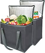 2 Insulated Reusable Grocery Shopping Bags, Xl, Large Picnic Cooler Bag