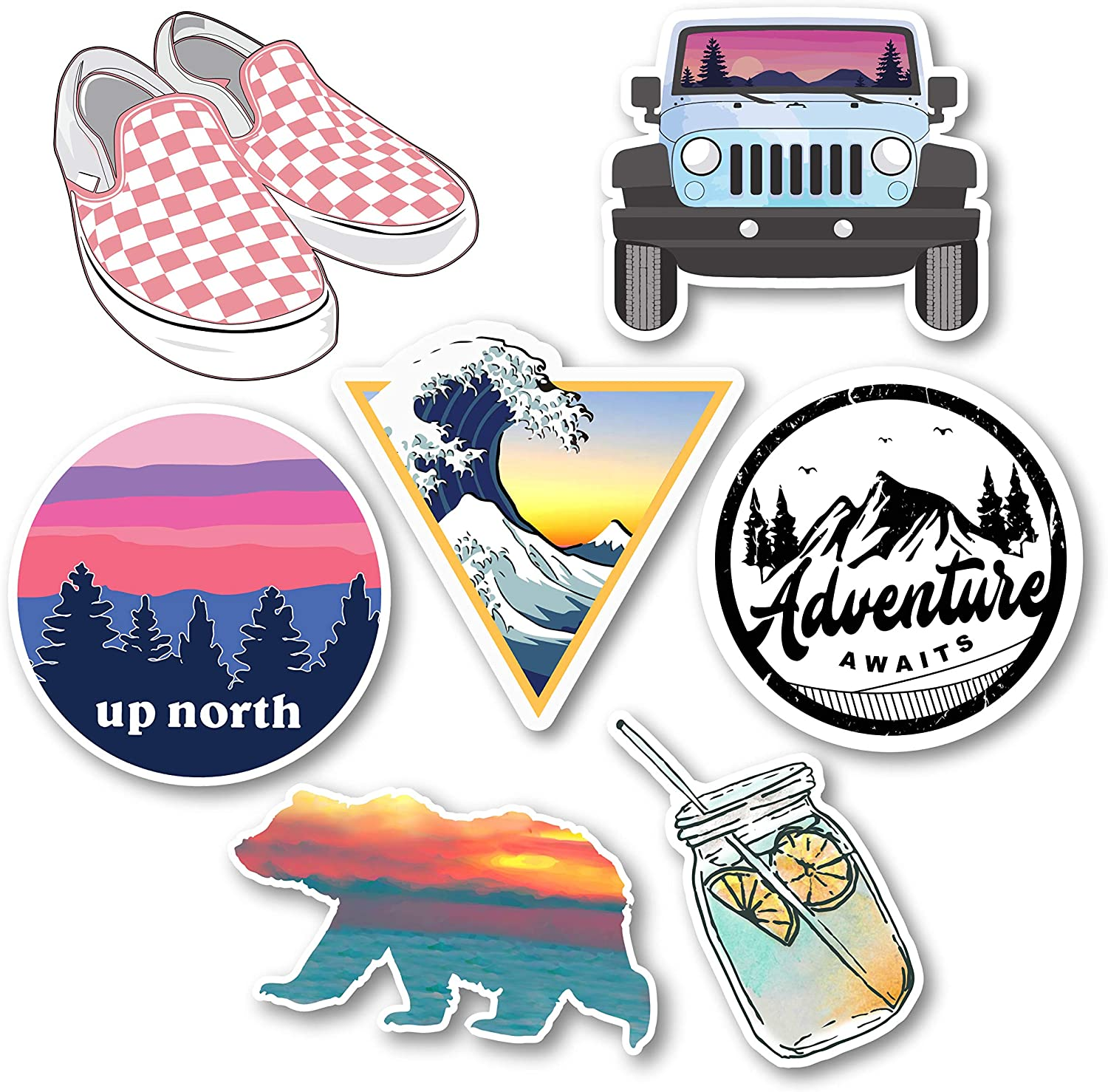Cute Hydro Flask Stickers for Hydroflasks,Scrapbooking Stickers,Jeep Sticker, VSCO & Trendy Water Bottles Stickers for Laptops. Thick Vinyl Waterproof 2020 Collection.