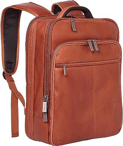 Kenneth Cole Reaction Manhattan Colombian Leather Slim 16 Laptop Tablet RFID Business Backpack, Cognac, Medium