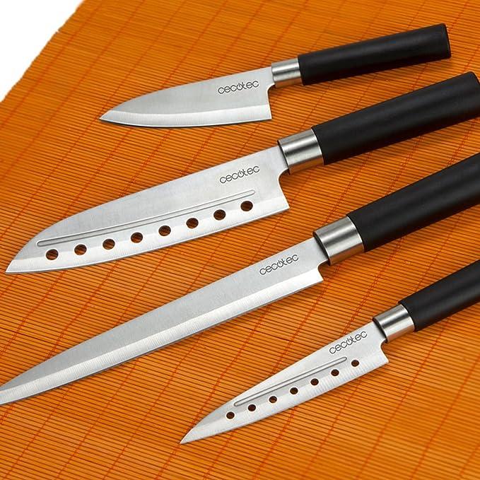 Cecotec Juego de 4 Cuchillos Profesionales de Estilo japonés para Uso doméstico. Set de Cuchillos Santoku: Amazon.es: Hogar