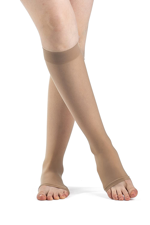 Sigvaris EverSheer 781CMLO33 15-20 Mmhg Open Toe Medium Long Calf Hosiery For Women, Natural by Sigvaris B0053V54ES