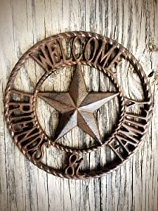 Rustic Brown Friends and Family Front Door Welcome Sign – Large Western Star Metal Plaque – Farmhouse Entryway Decor