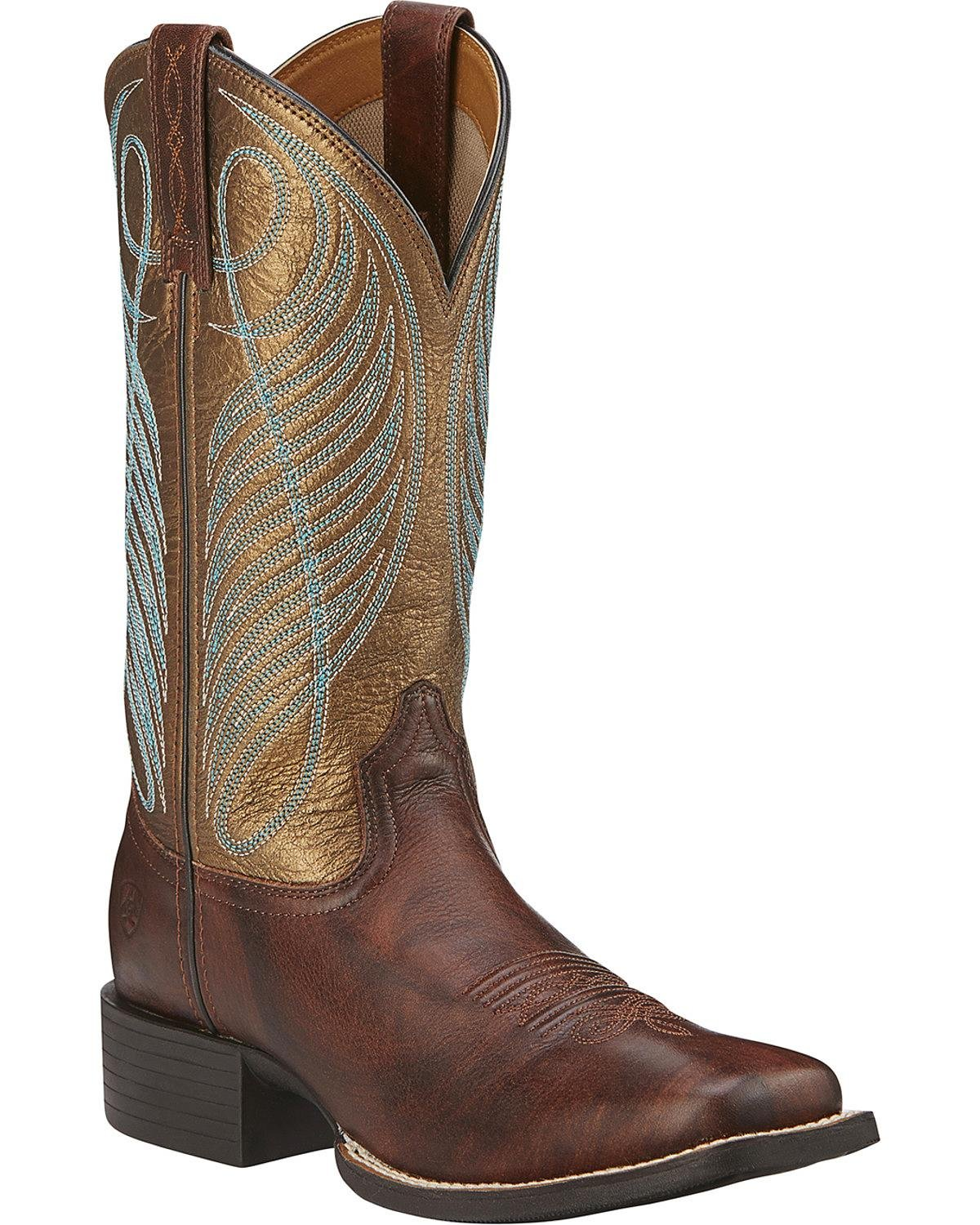 Ariat Women's Round up Wide Square Toe Western Cowboy Boot B00YFXYNRY 6 C/D US|Yukon Brown