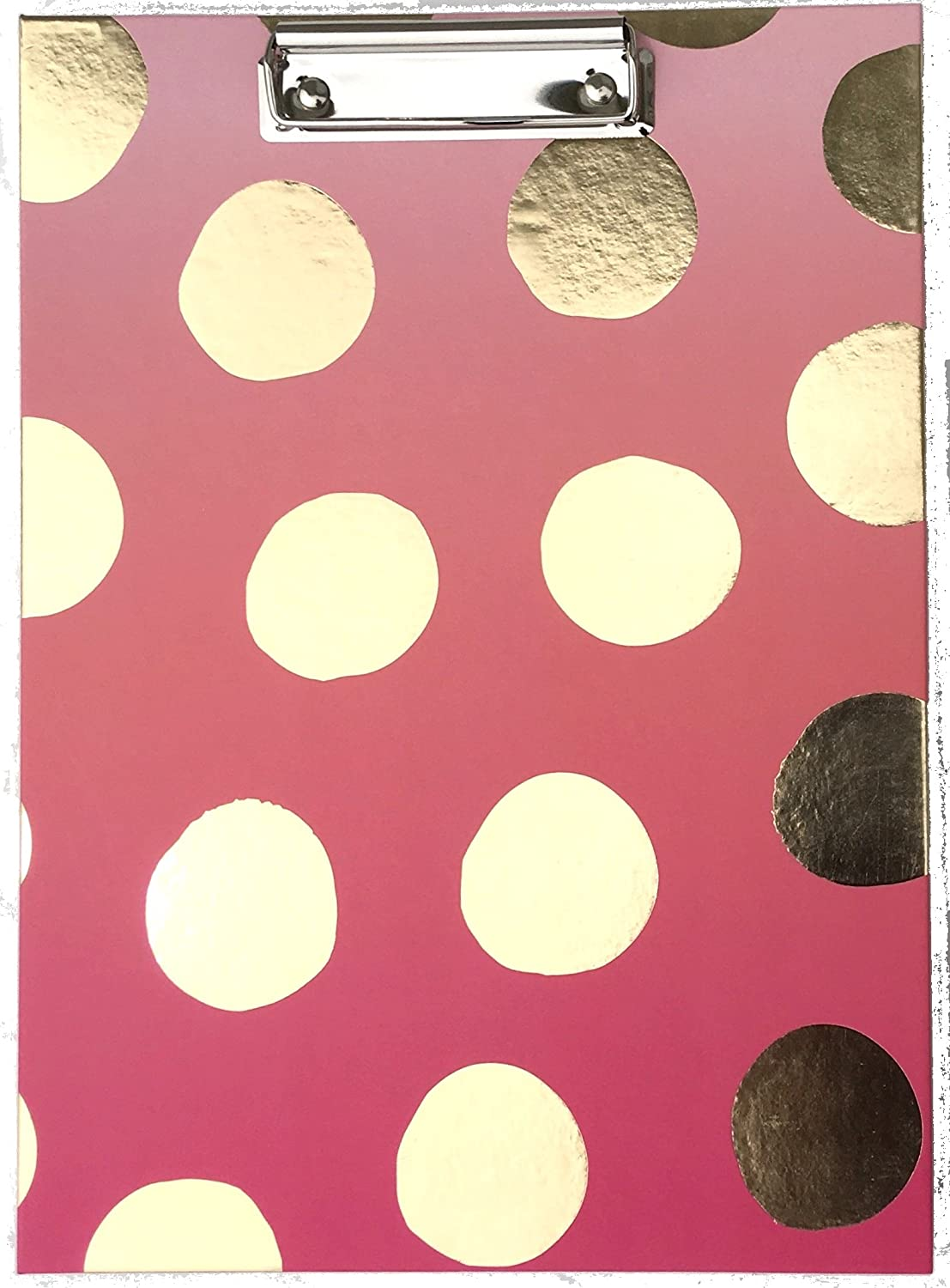 Amazon pink chandelier pink clipboard padfolio dottie collection with gold foil polka dots arubaitofo Image collections