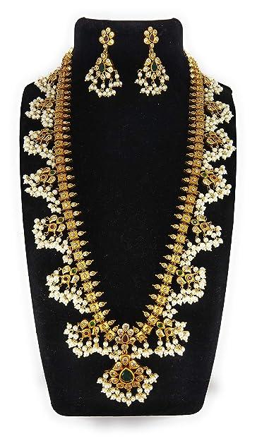 7e8b0bf82a84c SSR Fashion Jewelry White Copper Gold Plated Matte Guttapusalu Jewellery  Set for Women
