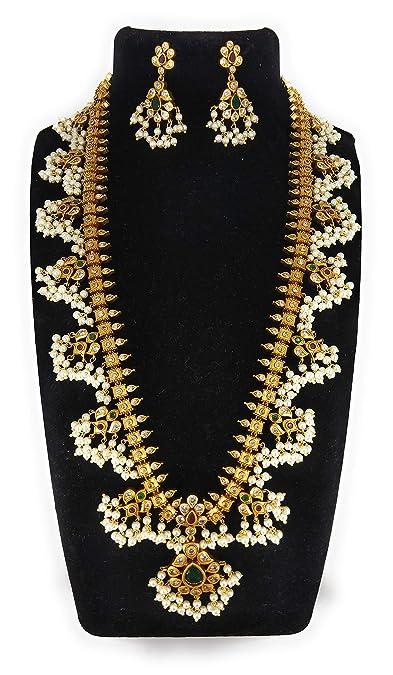 Buy Ssr Fashion Jewelry White Copper Gold Plated Matte Guttapusalu Jewellery Set For Women At Amazon In