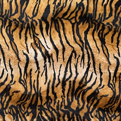 Velboa Wave Print Tiger 60 Inch Fabric by the Yard (FE (Gold)