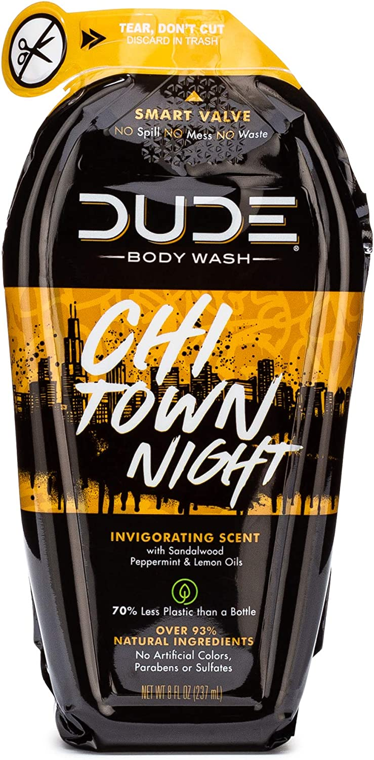 Dude Body Wash, Natural Castile Soap for Men, Chi Town Night Scent Containing Sandalwood, Peppermint, and Lemon Oils, 8 oz