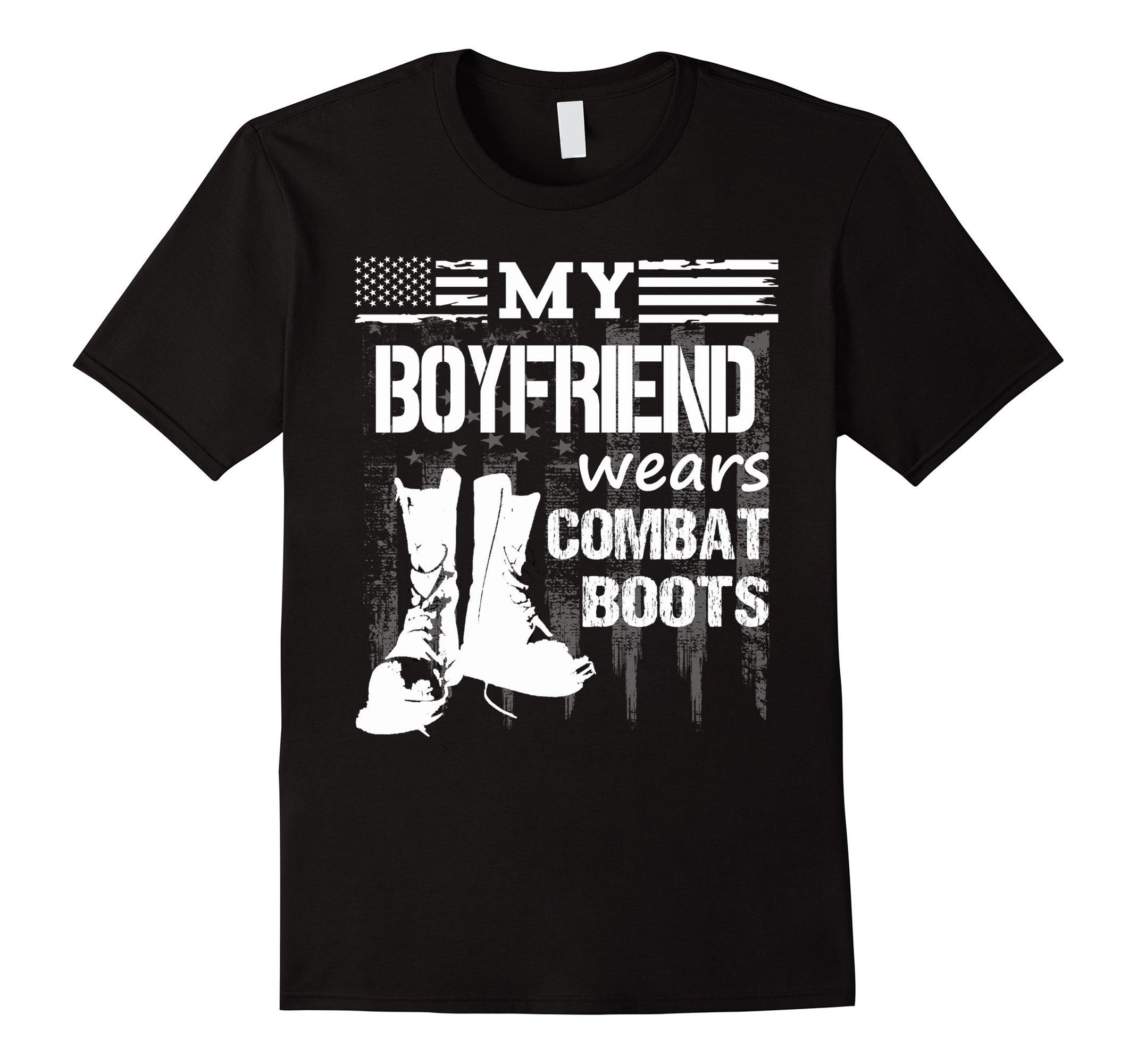 Men's My Boyfriend Wears Combat Boots - Military Veteran tee XL Black