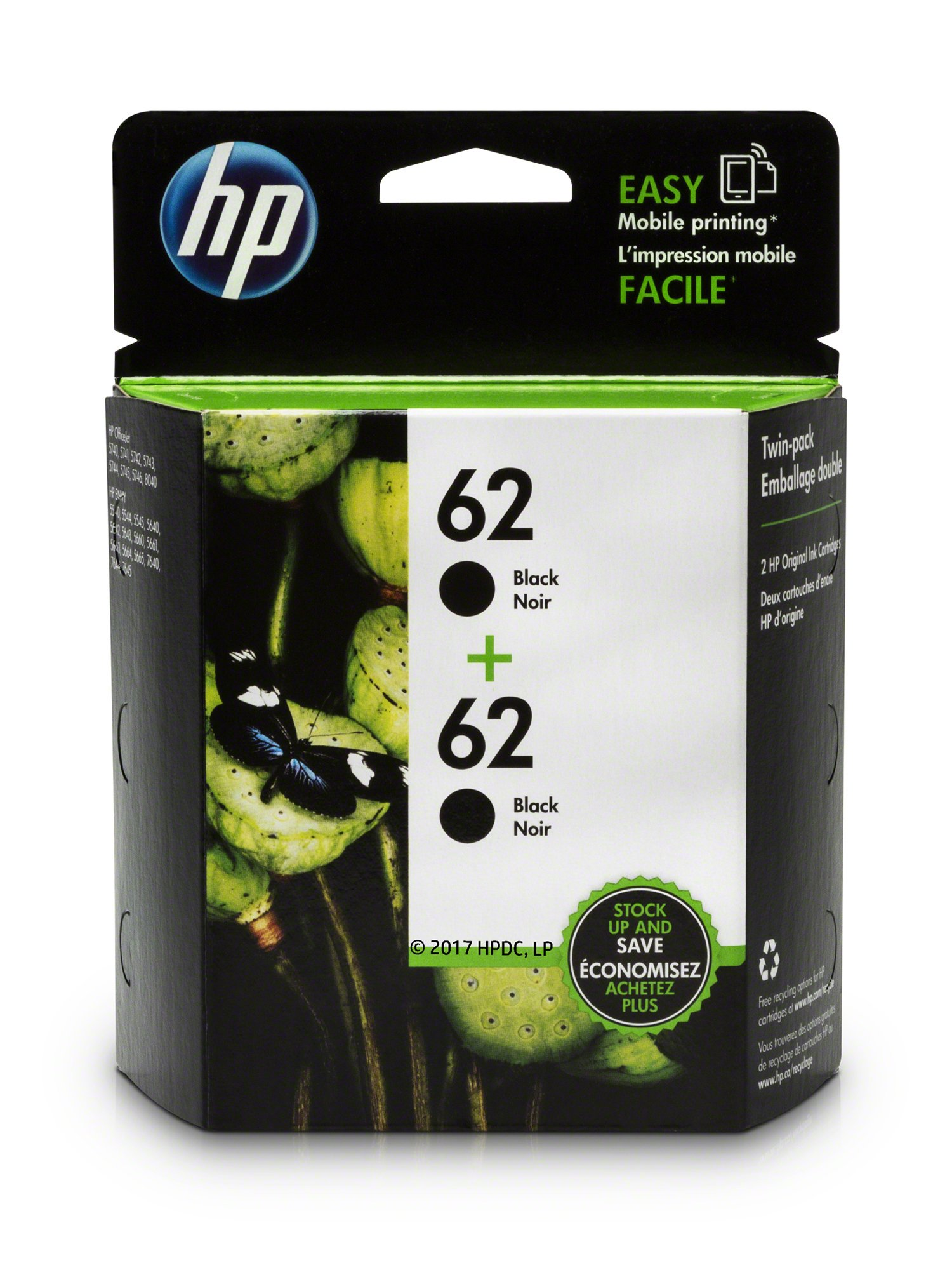 HP 62 Black Original Ink Cartridge (C2P04AN), 2 Cartridges (T0A52AN)