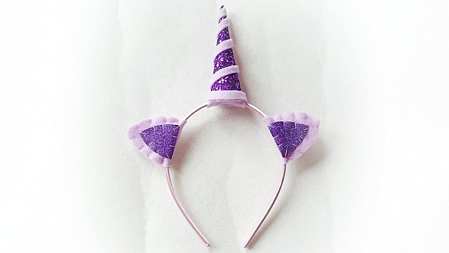 Purple glitter unicorn horn, unicorn head piece