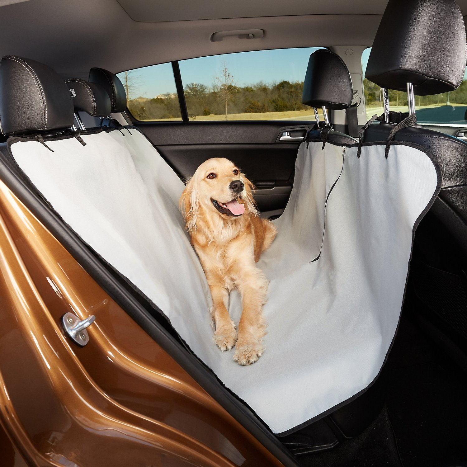 Animal Planet Dog Car Seat Cover 600d - Hammock Seat Cover for Dogs - Universal/Non-slip/Water-Resistant (Grey) by Animal Planet (Image #2)