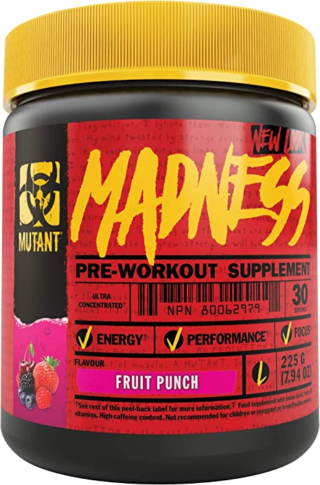Mutant Madness - Redefines the Pre-Workout Experience and Takes it to a Whole New Extreme Level, Engineered Exclusively for High Intensity Workouts, 225g – Fruit Punch