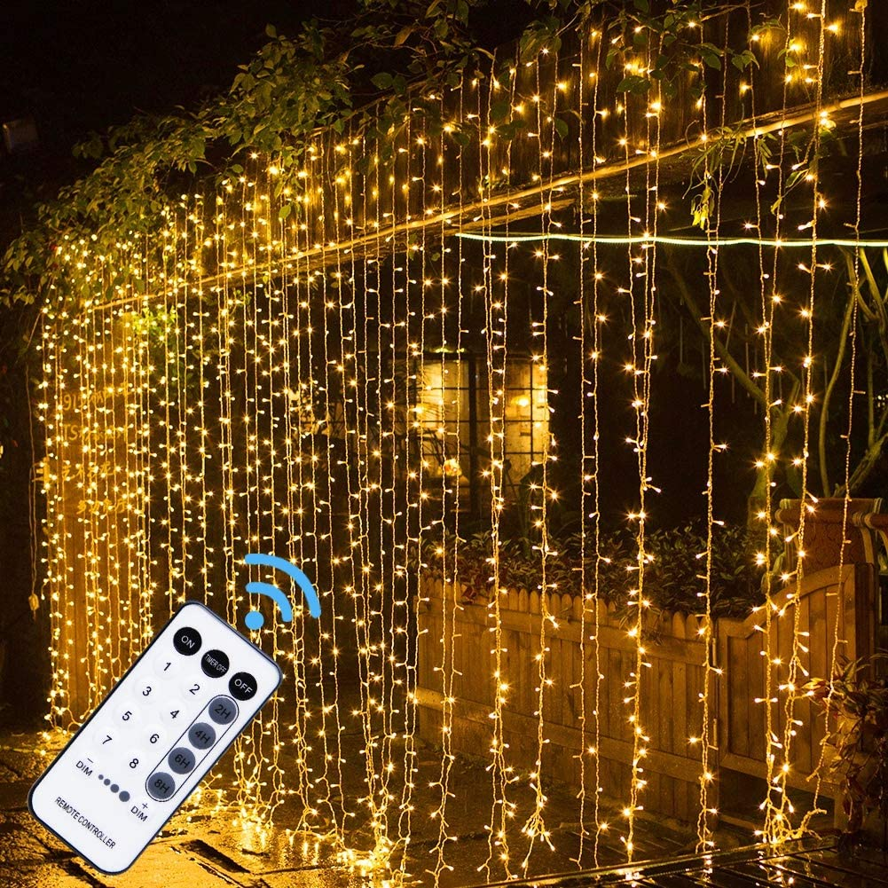Amazon Com Maggift 304 Led Curtain String Lights 9 8 X 9 8 Ft 8 Modes Plug In Fairy String Light With Remote Control Christmas Backdrop For Indoor Outdoor Bedroom Window Wedding Party Decoration