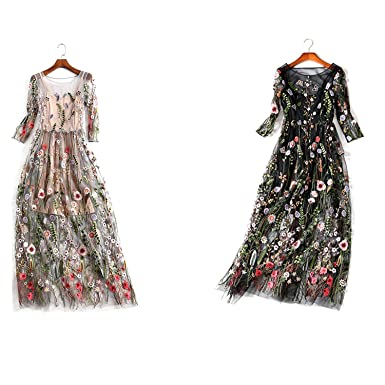 82eb17cc2e43 Image Unavailable. Image not available for. Color: AROMEE Women's  Embroidered Floral Spliced Tulle Maxi Lace Mesh Hollow Out Cocktail Dresses