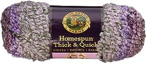 Lion Brand Yarn Homespun Thick and Quick Yarn, Lavender Stripes