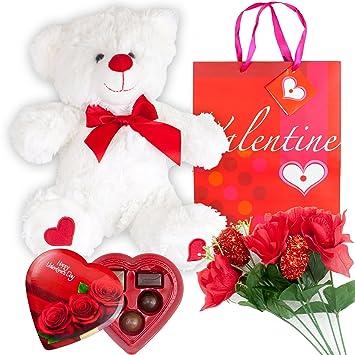 Amazon Com Valentines Day Gift Set Basket 12 Inches Teddy Bear