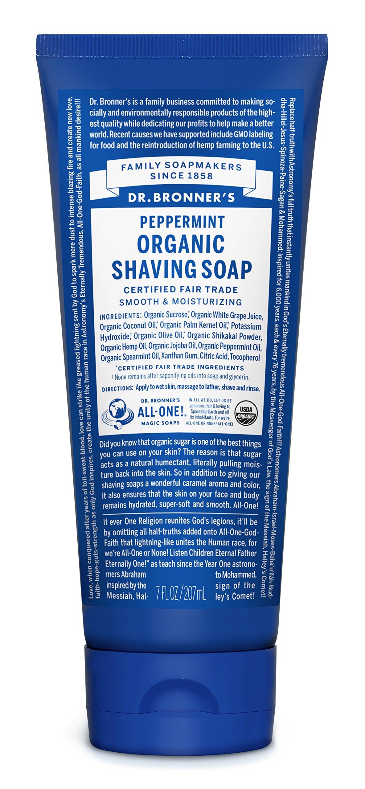 Dr. Bronner's Peppermint Organic Shaving Soap, 7 oz