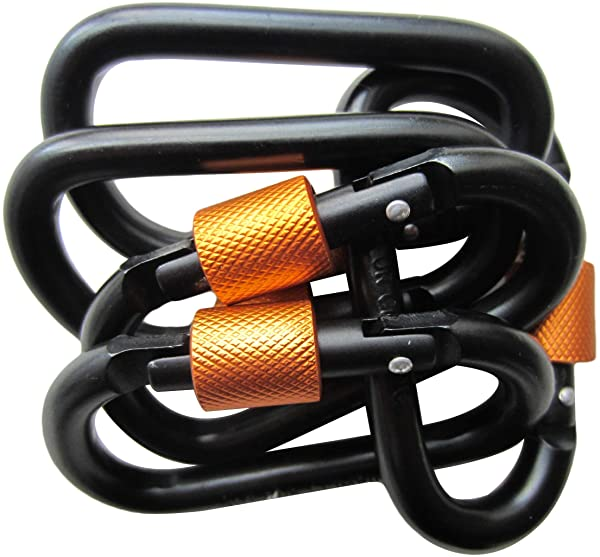 LeBeila Carabiner Clip Aluminum D-Ring Carabiners - 5 Pack Screw Locking Buckle Hook D Shape Spring Snap Keychain Clips Strong & Light Lock Caribeaner