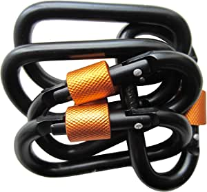 LeBeila Carabiner Clip Aluminum D-Ring Carabiners - 5 Pack Screw Locking Buckle Hook D Shape Spring Snap Keychain Clips Strong & Light Lock Caribeaners For Outdoor Camping Hiking Fishing(Black&Orange)