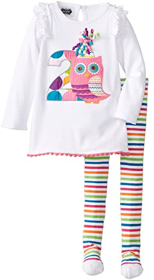 6141231a176 Amazon.com  Mud Pie Little Girls  2nd Birthday Owl Tunic and Legging ...