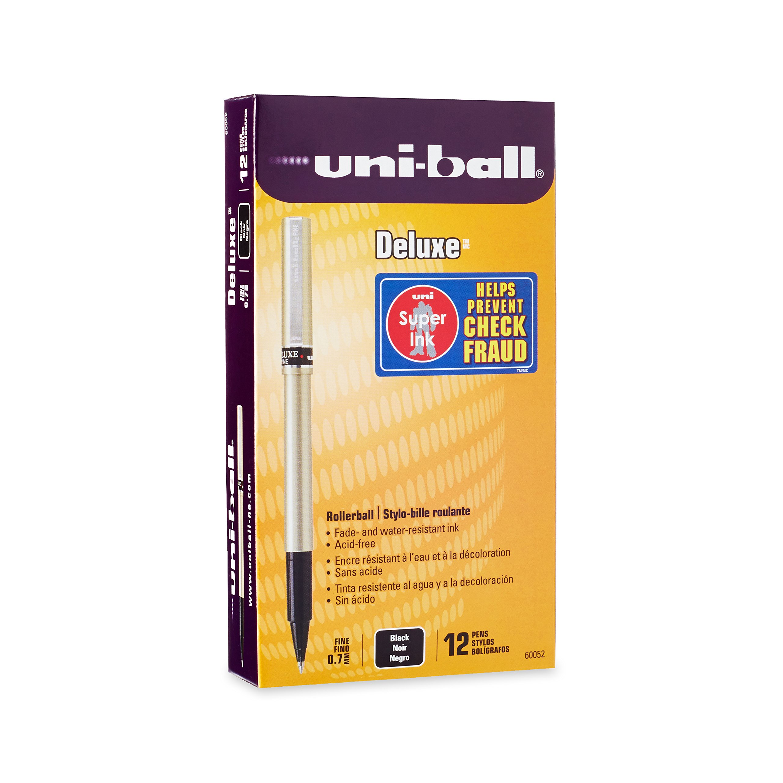 uni-ball Deluxe Rollerball Pens, Fine Point (0.7mm), Black, 12 Count